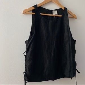 Anthropologie Black Top with Side Tie Detail